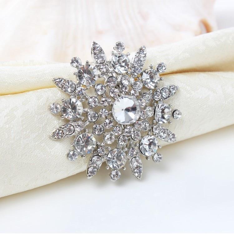 6pcs/lot  Rhinestone Napkin Ring Serviette Holder Napkin Buckle For Wedding Party Decoration