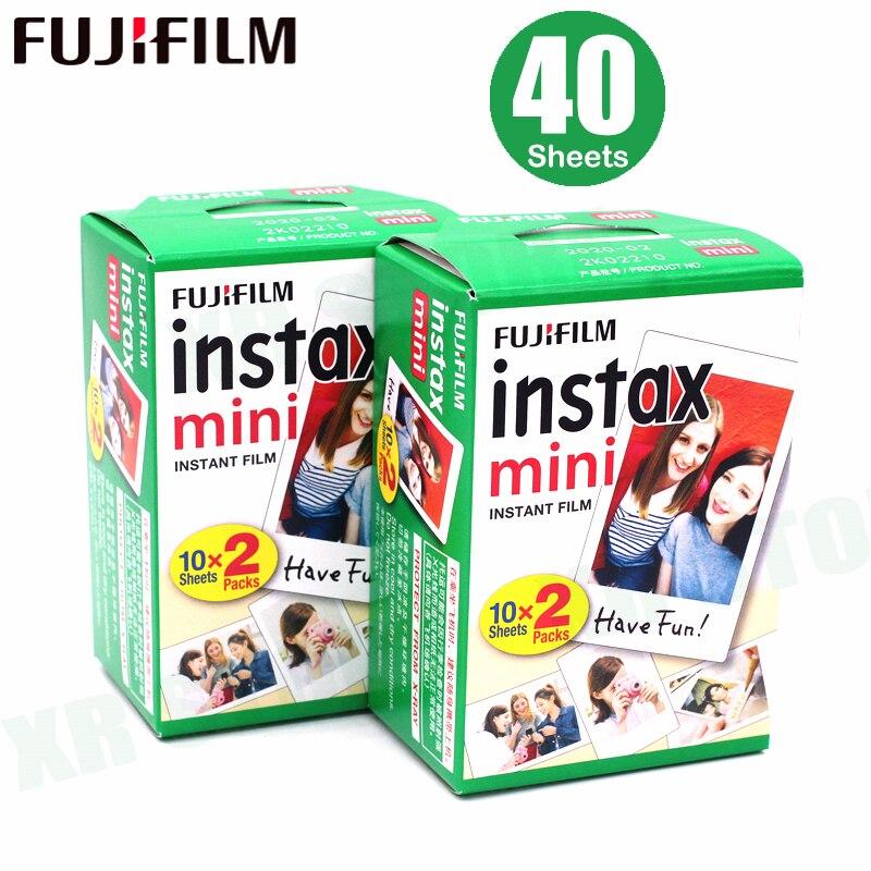 Original 40 hojas Fujifilm Instax mini 8 películas borde blanco 3 pulgadas instantánea Cámara 7 9 25 50 s 70 90 sp-1 sp-2 de papel fotográfico