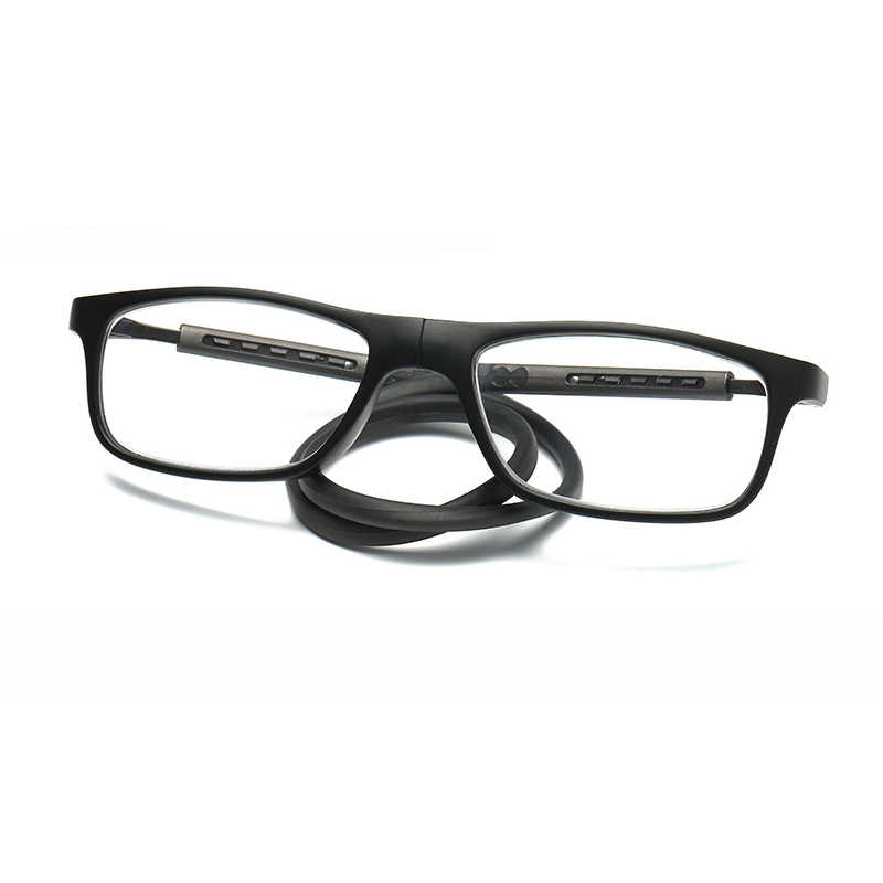 c9c39fb2f50 Rubber Tr90 Folding Magnet Reading Glasses Adjustable Hanging Neck Rectangle  Glasses Diopter +100 To +
