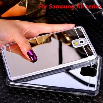 94ea46773c4 Espejo chapado suave TPU cubierta de la caja para Samsung Galaxy nota 3 4 5  A5 A7 A8 J5 J7 2016 S3 S4 S5 S6 S7 Edge Plus teléfono caso;