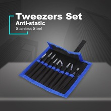 9pcs/Lot Repair Precision Tweezers Set Kit Stainless Steel Picking up Electronics Mobile Phone Repair Tools DIY Tool Anti-static цены онлайн