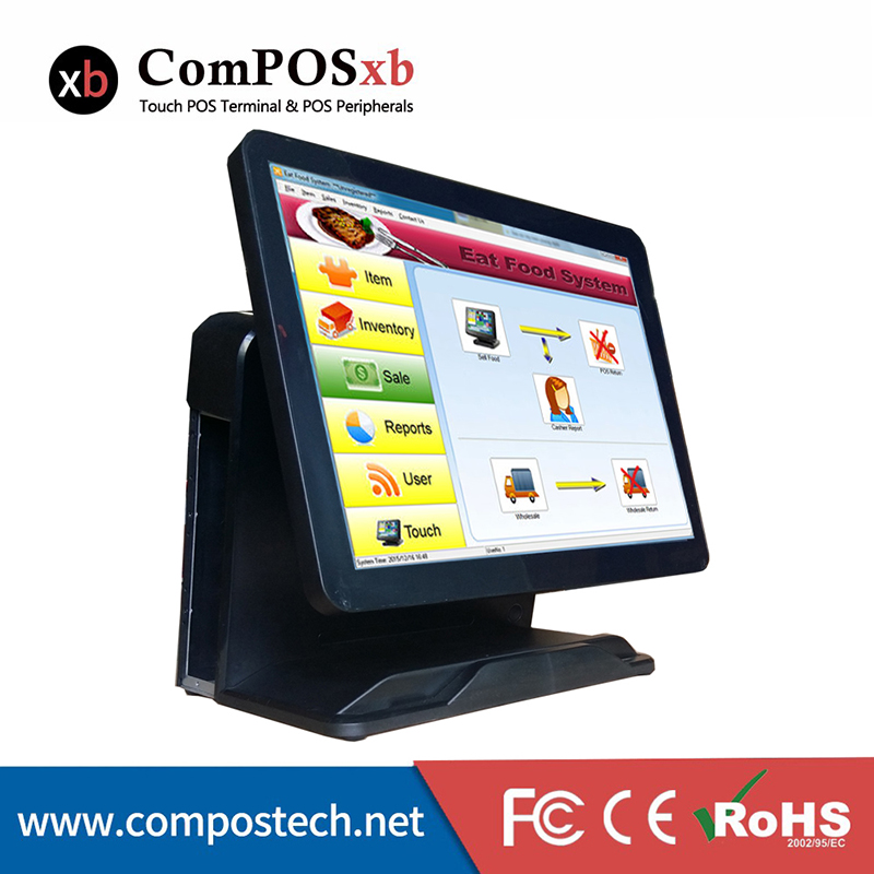 Stock New Design 15 All In One Pure Touch Screen Restaurant System POS Terminal With i3 Processor Cash Register PC