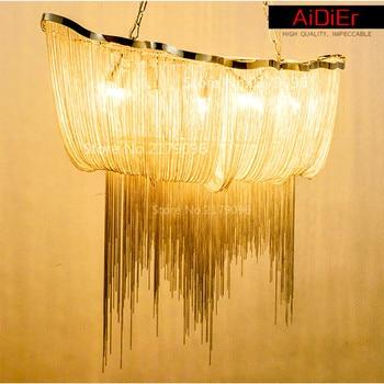 Современные алюминиевые цепи люстра роскошные сеть гостиниц и виллы креативные дизайнеры персонализированные вилла лампа кисточки