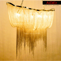 Italy modern lighting fixture shaped aluminum chain hotel chain tassel Chandeliers personalized restaurant