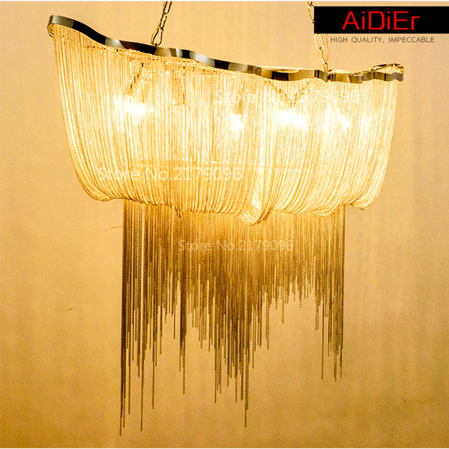 Modern aluminum chain chandelier luxury chain hotels and villas modern aluminum chain chandelier luxury chain hotels and villas creative designers personalized villa lamp tassels aloadofball Choice Image