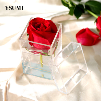 Clear Acrylic Rose Flower Box Makeup Organizer Artificial Flower Bouquet Flower Gift Box Valentine's Day Wedding Decor Gift Case creative rose soap flower artificial bouquet with black round box brithday valentines day gift present