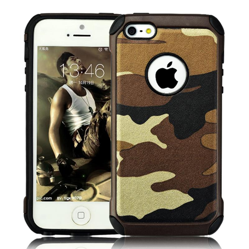 2 in 1 Army Camo Camouflage Pattern back cover Hard Plastic and Soft TPU Armor protective phone cases for iPhone 5 5s SE IDOOLS