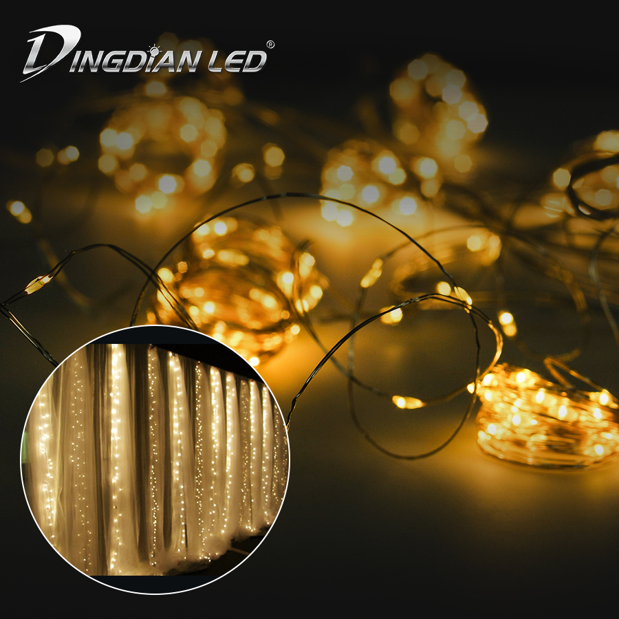 3 3m 300LEDS Curtain String Light Fairy Icicle LED Christmas Garland Wedding Party Patio Window Outdoor String Light Decoration in Novelty Lighting from Lights Lighting