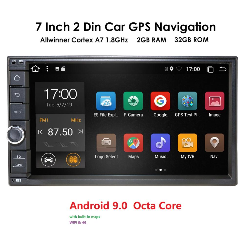 Universal 2 din Android 9.0 OctaCore 2+32 Car Multimedia Player GPS Wifi BT Radio 4G SIM Network Steering wheel DAB USB Navi Map