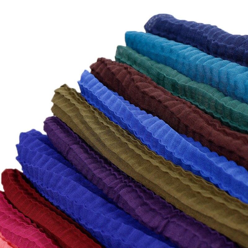 2019 Plain Crinkle Hijab   Scarf   Pleated Shawls Muslim Wrinkle   Scarves   Viscose Cotton Plaid   Wraps   Stretchy Headband Sjaal 180*80Cm