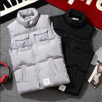S 5XL Sleeveless Vest For Men Warm Jacket Male Winter Casual Slim Waistcoat Thick Black Big Size Coats Clothing A5142