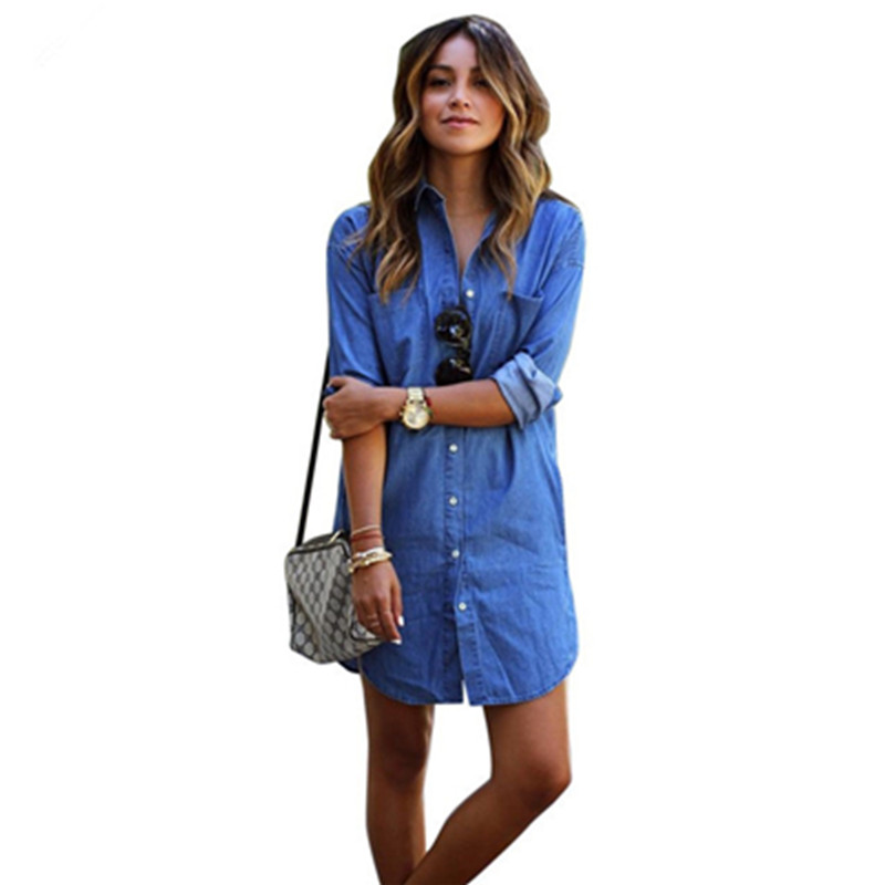 Autumn 2017 New Fashion women Blue Denim dress Casual Loose long Sleeved T shirt Dresses Straight dress Plus size