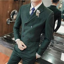 High-end Mens Double-breasted Jacket Suits 3pcs Slim Fit Formal Dress Pants Vest B11