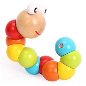 Colorful Wooden Twist Worm Puzzles Caterpillar Kids Educational Toys Baby Montessori Finger Toys(China)