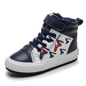 Image 3 - Herfst Winter Jongens Mode Laarzen voor Kinderen Schoenen Leer Waterdicht Sneeuw Boot Kids Ankle Martin Laarzen Pluche Warm Sport Schoenen