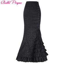Belle Poque Long Skirts Womens Victorian Vintage Gothic Mermaid Skirt Corset Lace-Up Floor Length Fishtail Slim OL Maxi Skirts
