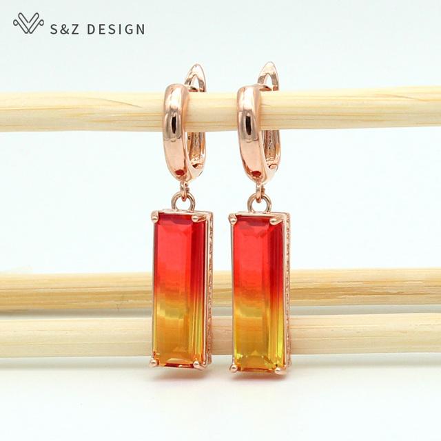 S&Z New Square Tourmaline Zircon Long Drop Earrings 585 Rose Gold White Earring Women Fashion Wedding Party Fine Cute Jewelry