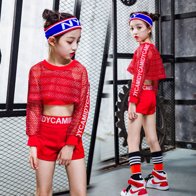 Children's Street Dance Costume Girls Suits Costumes Nets Jazz Dance Hip-hop Clothes Dance Clothes Performance Clothing Red