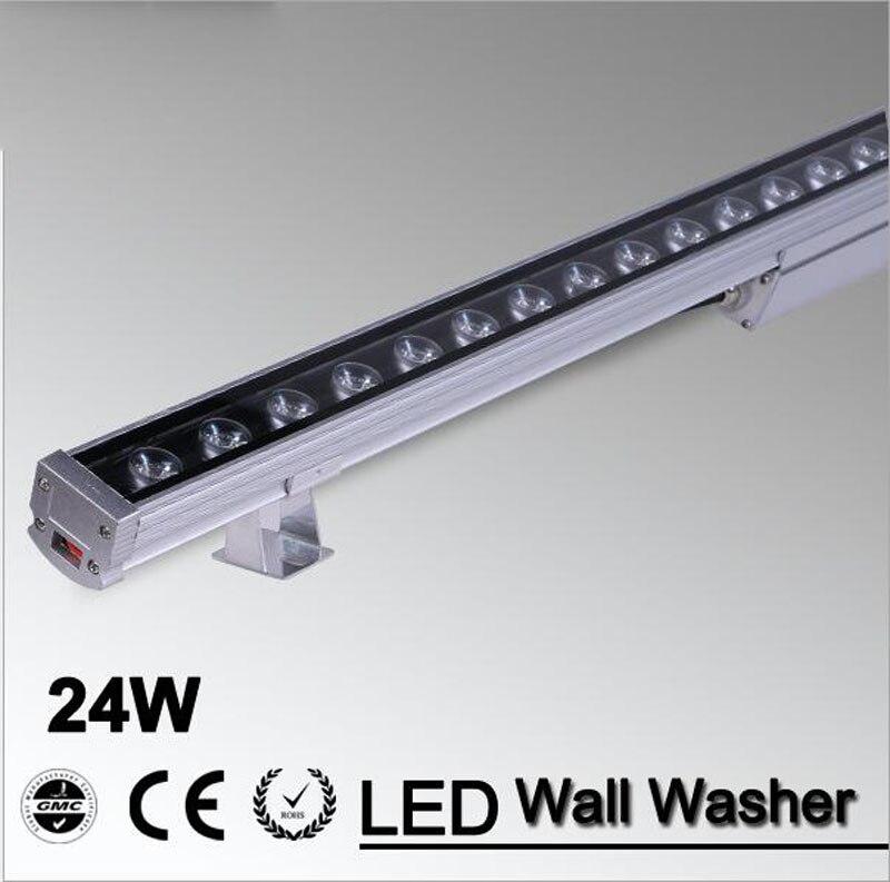 10pcs/lot LED Wall Washer Light 24W 1000mm*46*46mm AC85-265V IP65 Waterproof garden light Outdoor Lighting ultrathin led flood light 200w ac85 265v waterproof ip65 floodlight spotlight outdoor lighting free shipping