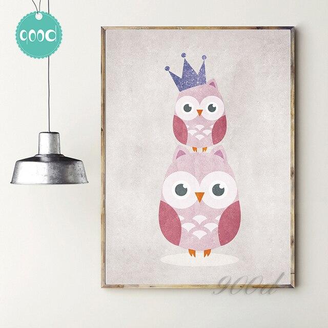 Original Vintage Cartoon Owl Art Print (No Frame Included)