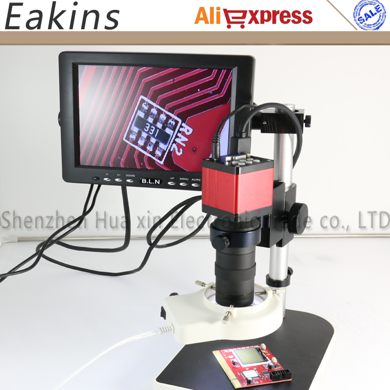 13MP 60FPS HDMI VGA Industrial Microscope Camera 130X lens LED light stand holder 8 LCD Monitor