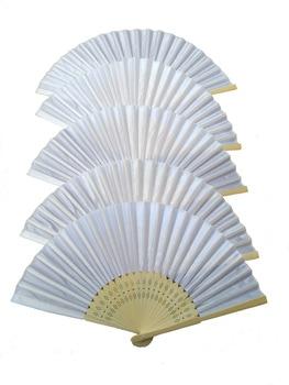 DHL Free shipping,Wholesale 150 pcs/lot White Folding Elegant Silk Hand Fan  Wedding&Party Favors Gift 21cm
