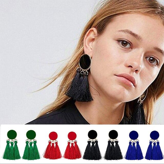 Hanging Drops Bead Long 3 Tassel Earrings Studs Stone Red Bijouterie Ear Jewelry
