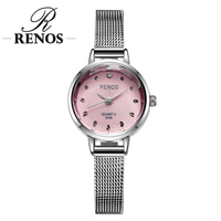 RENOS Watch Women With Box Simple Black White Pink Wristwatches Fashion Casual Rhinestone Bracelet Watches Relogio