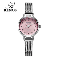 RENOS Watch Women With Box Simple Black White Pink Wristwatches Fashion Casual Rhinestone Bracelet Watches relogio masculino Hot