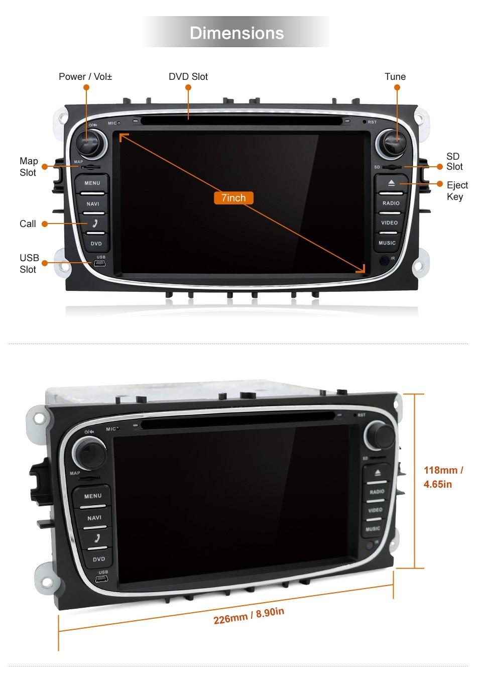 Ford Focus 2 S-max Mondeo C-max 1GB Ram 16GB ROM Güzgü wifi 3G dvd - Avtomobil elektronikası - Fotoqrafiya 5