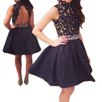 Black Short Cocktail Dresses lace appliques backless ball Gowns Party Homecoming Dresses