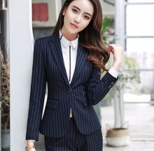 Business Interview Women Black Blue Grey Striped Pant Suits Work Wear Office Ladies Long Sleeve slim Formal Blazer and Pants Set
