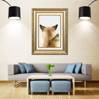 Artcozy Golden Frame Abstract Wolf Back For Home Decoration Waterproof Canvas Painting