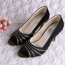 Wedopus Dropshipสีฟ้าซาตินรองเท้าแต่งงานผู้หญิงรองเท้าส้นสูงP Eepด้วยคริสตัล