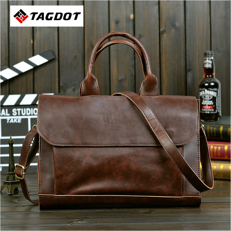 Retro Crazy horse PU Leather laptop bag Men high quality male package shoulder Messenger business briefcase Travel Bag