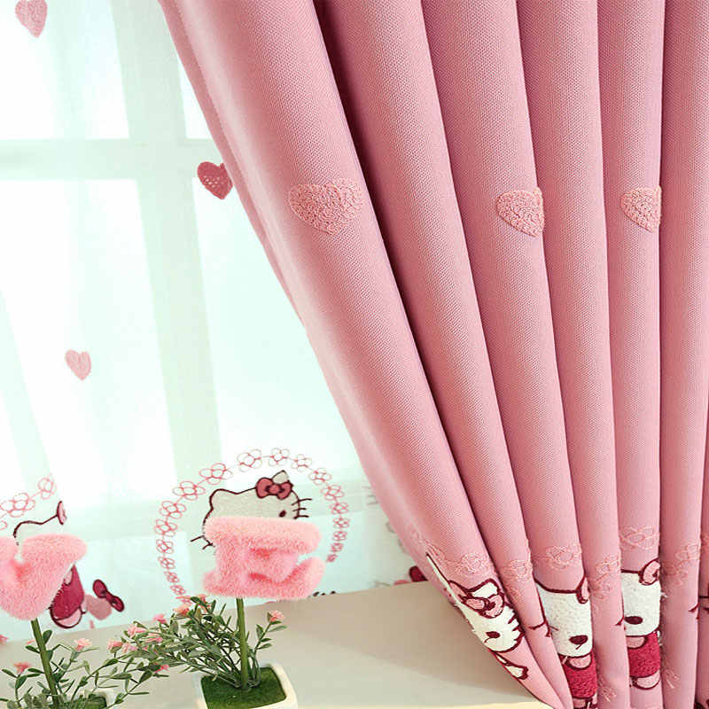 Sinogem korean cartoon style pink embroidered kitty cat blackout curtains for living room baby room cotton linen sheer curtains