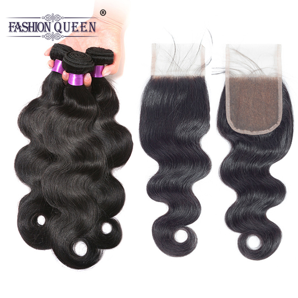 Malaysia Human Hair Bundles With Closure Fashion Queen Hair Body Wave 3 Bundles With Closure Free Part Remy Hair Weave