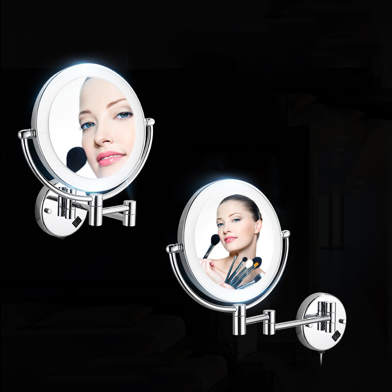 Bath Mirrors Chrome Magnifying Bathroom Wall 9 Inch Brass Round LED Makeup Lighting Mirror Illuminator Make-up Mural 2068 3