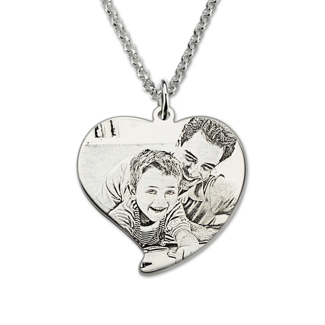 wholeale personalized sterling silver photo engraved necklace heart