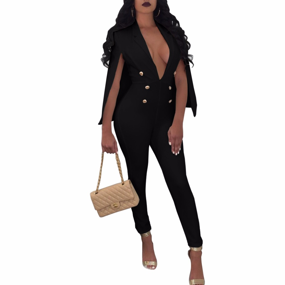 Echoine 2018 Fashion Lady Solid Cape Jumpsuits Sexy Deep V Sleeveless Jumpsuit Stretch Slim Fit Rompers Plus Size Jumpsuits
