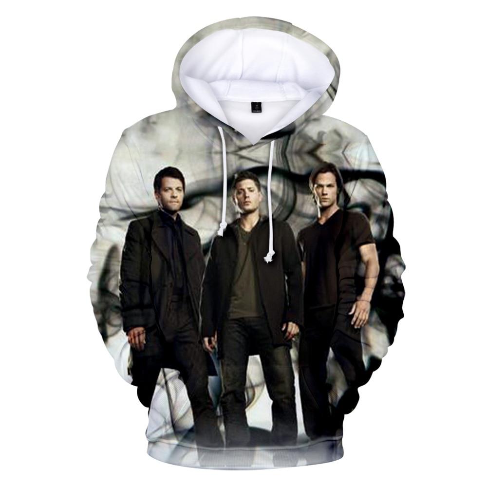 Fashion Casual Boy's 3D Hoodies Supernatural 2019 Hip Hop Men/Women Hooded 3D Print Supernatural Pullover Sweatshirts