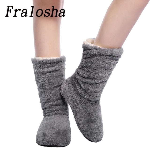 FRALOSHA Dropshipping Women Plush Home Slippers Coral Fleece Indoor Floor Sock Winter Foot Warmer Soft bottom slippers
