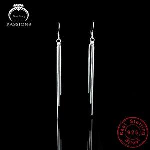 Горячая Распродажа, модные элегантные длинные висячие серьги с кисточками из стерлингового серебра 925 пробы, простые висячие серьги с кисто...