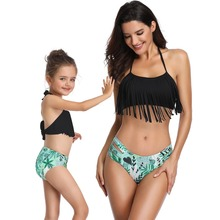 hot deal buy mother daughter swimsuit family matching outfits mommy and me clothes swimwear mom daughter tassel bikini high waist family look