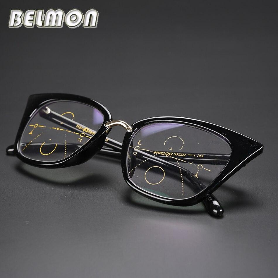 Reading Glasses Women Multi Focal Progressive Presbyopic Cat Eye Eyeglasses