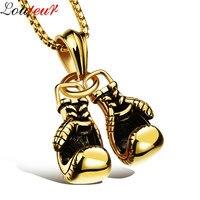 Louleur 2017 BlackGold Silver Plated Fashion Mini Boxing Glove Necklace Men 316L Stainless Steel Cool Pendant