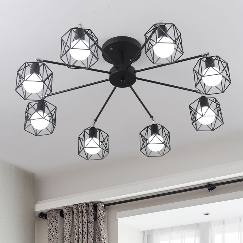 Nordic home wrought metal living room ceiling light bed room ceiling lamp with E27 led bulbs