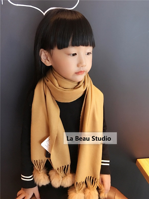 Kids-Scarf-Girls-Boy-Winter-Children-Scarf-Classic-Solid-British-Grid-Plaid-Real-Fur-Cashmere-Scarf