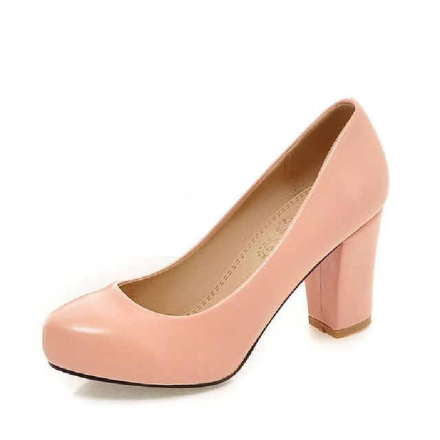 Women Clasiscal OL Pumps Spring Med Heels Offical Shoes Size 32-43 Square High Heels Party Shoes Femme Zapatos Mujer