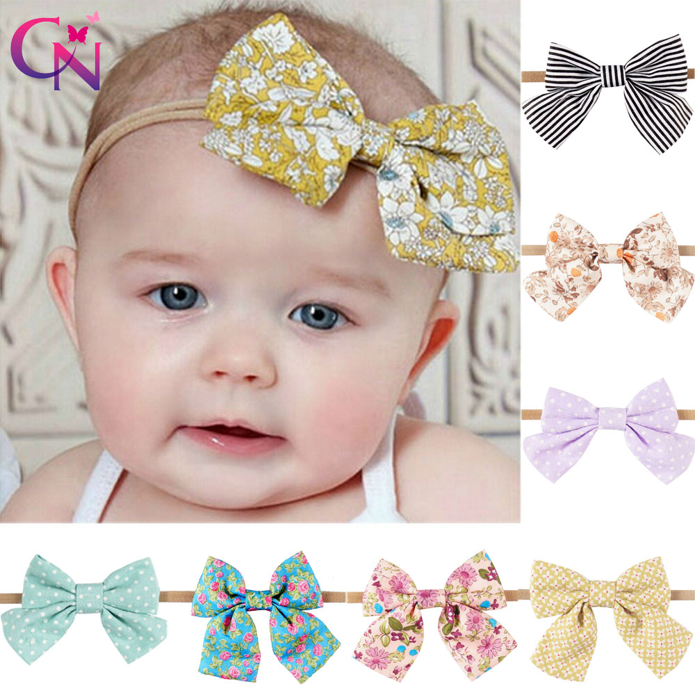 Printed Fabric Bows Nylon Headbands For Kids Girls Princess Boutique Elastic Hair Bows Hairbands Hair Accessories 10 Pieces/lot boutique handmade dot kids girls hair ties elastic tiara bows satin flower hairbows headbands hairband floral accessories mt 36